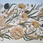 Hortensias, astilbe, eucalipto, rositas. Apaisado 80x40cm.