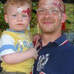 Kinderschminken für Papa & Sohn von den Facepainters in Greetsiel