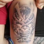 Airbrush Tattoo von den Facepainters für die Sparkasse Aurich Norden beim Sparkassenlauf 2016 in Aurich