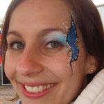 Face painting als Schmetterling von den Facepainters für die Fresena Apotheke in Hinte