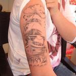 Airbrush Tattoo Schiff von den Facepainters fr die Sparkasse Aurihc-Norden zum Hager Ortsfest