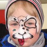 Kinderschminken als Hund von den Facepainters für die Fresena Apothke in Hinte