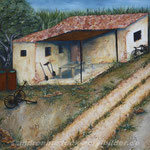 """Unterwegs auf Mallorca"", 80 cm x 80 cm, Acryl, Strukturpaste, Rost, Lehm"