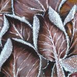 """""""Blätter in Rauhreif"""", 60 cm x 70 cm, mit Rahmen"""