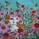 """Roter Sonnenhut - Mittendrin"", 80 cm x 80 cm, Acryl, Collage"