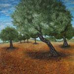 """Olivenbäume"", 80 cm x 100 cm, Acryl und Strukturpaste"