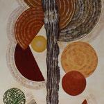 """Lebenskreise"", 40 cm x 120 cm, Acrylfarbe, Acrylmasse"