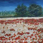 """Mohnfeld auf Mallorca"", 80 cm x 60 cm, Acryl"