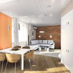 Гостиная-столовая-кухня - вид от кухни