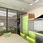 Кухня: раздвижные двери отделяют кухню от гостиной