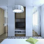 Спальная - за центральными раздвижными дверями скрывается ТВ