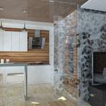 Кухня-гостиная_вид на бар и ТВ