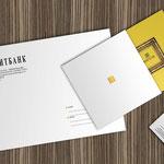 Элементы фирменного стиля: открытка с ковертом, конверт для деловых писем и визитка