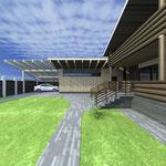 Вид на гараж и парковочную площадку