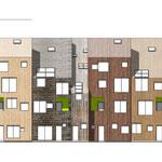 Фасад 3-х сблокированных секций со стороны двора