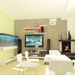 Гостиная: аквариум, телевизор и камин