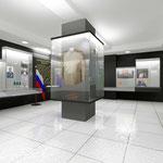 Вокруг центральной колонны - стеклянный короб для экспозиции исторической служебной формы