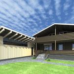Вид на дом и гараж от входа