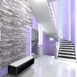 Прихожая - лестничный холл: ступени черно-белой лестницы подсвечены в шахматном порядке