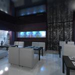 Малый зал: настенный аквариум и плотная штора с орнаментом, отделяющая вход в бар
