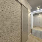 Коридор_вид на дверь в ванную комнату
