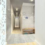 Прихожая - вид в коридор и на тумбу для обувания