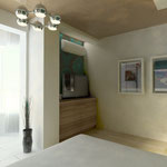Спальная_вид с кровати на комод с ТВ