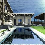 Вид на бассейн и баню