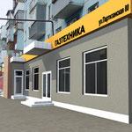 Эскиз фасада, совмещенный с фото здания