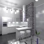 Кухня: барный столик отделяет готовочную зону от обеденной