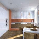 Гостиная-столовая-кухня - вид на кухню