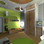 Детская комната: в подвесном потолке прорезаны круги разного диаметра с цветным натяжным потолком