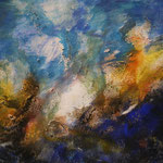 Undine, 2004, Acryl, Sand/Papier, 50 x 70 cm