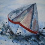 Papierschiff, 2011, Acryl/LW, 50 x 70 cm