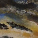 Wolkenspiel #1, 2018,Acryl/Pastellkreiden/Papier, 12 x 17 cm