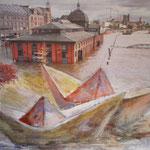 Hochwasser, 2011, Collage, 20,5 x 25 cm