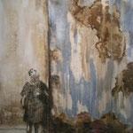 Abschied, 2010, Acryl,Moorlauge/Papier, 50 x 63,5
