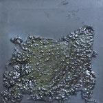 Straßenstück, 2015, Gußaspahlt, Acryl/LW, 40 x 40 cm