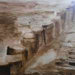 Meerblick, 2010, Moorlauge,Aquarell/Papier, 27 x 36 cm