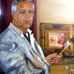 Autoportrait en blouse blanche - Huile sur toile - 81x65