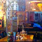 Reflets dans un oeil d'or - Huile sur toile - 195x97