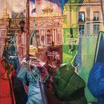 Les doudounes de l'Opéra - Huile sur toile - 100x80