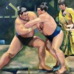 Combat de Sumo : la prise  - Huile sur toile - 81x65
