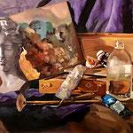 Nature morte au peintre - Huile sur panneau - 65 x 50