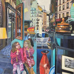 Le Kway rose - Huile sur toile - 73x50