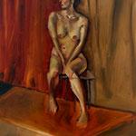 Nu sur fond bicolore et sol rouge - Huile sur bois - 65 x 46