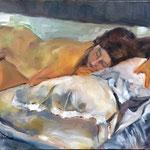 La sieste de face - Huile sur toile - 61x50