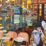 L'inconnue à l'écharpe grise - Huile sur toile - 73x50