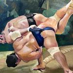 Combat de Sumo : l'issue  - Huile sur toile - 81x65