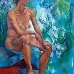 Yasmine sur fond bleu - Huile sur toile - 100x80